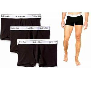 3 Pack Black Calvin Klein Cotton Stretch Trunks